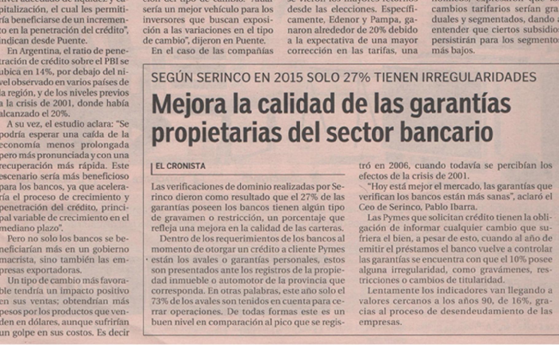 Mejora la calidad de las garantías propietarias del sector bancario